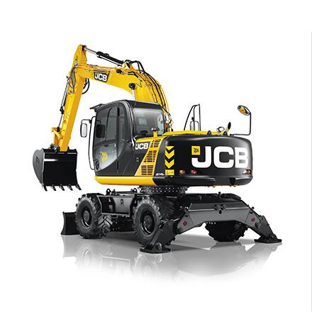 JCB JS 145W graafmachine op banden